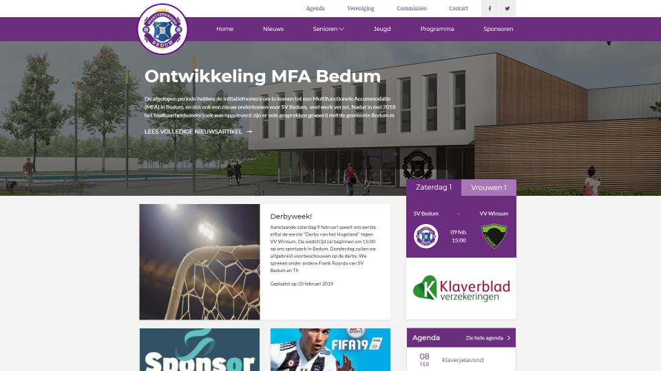 Maatwerk homepage SV Bedum
